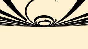 Движение конспекта красивое быстрое черных широких изогнутых линий на бежевой предпосылке, безшовной петле сердитой Вращая круг иллюстрация штока