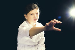 Движение космоса девушки виртуальное Стоковое фото RF