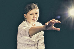 Движение космоса девушки виртуальное Стоковое Изображение RF