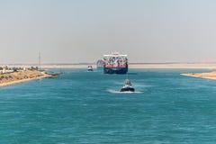 Движение на канале Суэца в Египте стоковые фотографии rf