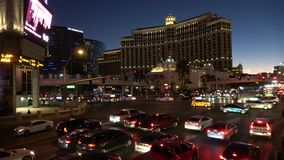 Движение на прокладке в вечере - США 2017 Лас-Вегас сток-видео