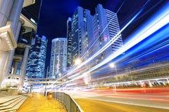 Движение ночи в городе Гонконга Стоковая Фотография