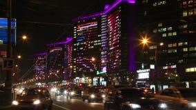 Движение ночи на новой улице Arbat moscow сток-видео