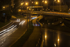 Движение ночи на променаде Стоковое фото RF