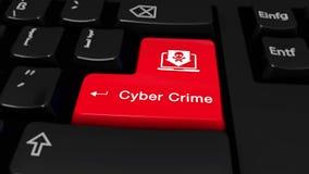 57 Движение преступления кибер круглое на кнопке клавиатуры компьютера иллюстрация штока