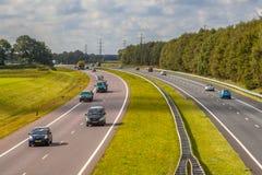 Движение скоростного шоссе A28 увиденное сверху Стоковые Изображения