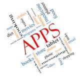 Двинутая под углом концепция облака слова Apps иллюстрация штока