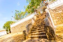 Двинутое под углом небо дерева Anuradhapura Jaya Sri Maha Bodhi Стоковая Фотография