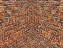 Двиньте под углом в комнате с стенами от красного кирпича Стоковая Фотография RF