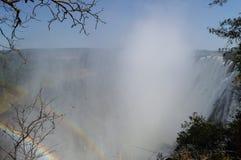 Двойная радуга, Victoria Falls увиденное от замбийской стороны Стоковые Фото