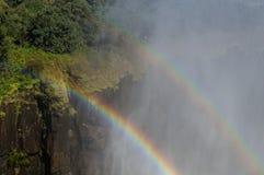 Двойная радуга, Victoria Falls увиденное от замбийской стороны Стоковая Фотография