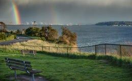 Двойная радуга над водным путем звука Puget Стоковая Фотография RF