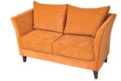 Двойная софа ткани при покрашенный апельсин, изолированный на белизне Стоковые Изображения