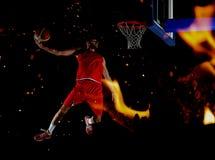 Двойная экспозиция баскетболиста в действии Стоковая Фотография