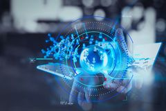 двойная экспозиция бизнесмена показывает современную технологию как concep Стоковое Изображение RF