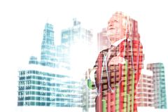 Двойная экспозиция бизнесмена старшего администратора в костюме с Mod Стоковое Изображение
