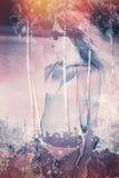 Двойная экспозиция девушки бикини стоковое изображение rf