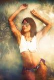 Двойная экспозиция девушки лета стоковое фото rf