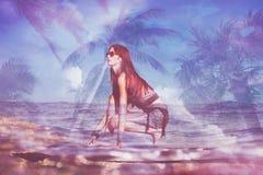 Двойная экспозиция девушки Surfboard Стоковые Фото
