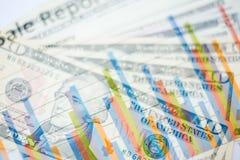Двойная экспозиция диаграммы и долларов банкнот Стоковое Изображение RF