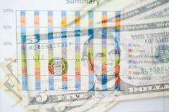 Двойная экспозиция диаграммы и долларов банкнот Стоковое Фото