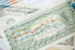 Двойная экспозиция диаграммы и долларов банкнот Стоковая Фотография