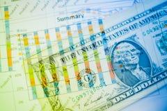 Двойная экспозиция диаграммы и долларов банкнот Стоковые Изображения
