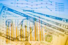 Двойная экспозиция диаграммы и долларов банкнот Стоковое фото RF