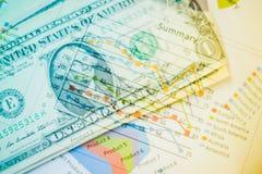 Двойная экспозиция диаграммы и долларов банкнот Стоковые Фотографии RF