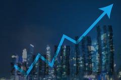 Двойная экспозиция диаграммы и строки монеток для финансов и busin Стоковые Фото