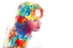Двойная экспозиция молодой красивой девушки изолированной на белой предпосылке Стоковая Фотография