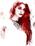 Двойная экспозиция молодой красивой девушки Покрашенный портрет женской стороны Пестротканое изображение изолированное на белой п бесплатная иллюстрация