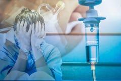 Двойная экспозиция пациента получая потек IV на больнице Стоковое фото RF