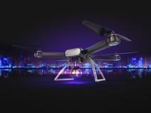 Двойная экспозиция, современное летание трутня воздуха дистанционного управления с камерой действия На черной предпосылке 3d Стоковая Фотография RF