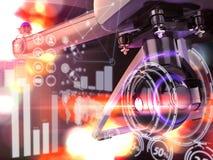 Двойная экспозиция, современное летание трутня воздуха дистанционного управления с камерой действия На черной предпосылке 3d Стоковое Изображение RF