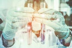 Двойная экспозиция эксперимента по науки Стоковое Фото