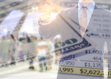Двойник исследует бизнесмена с деньгами Стоковая Фотография RF