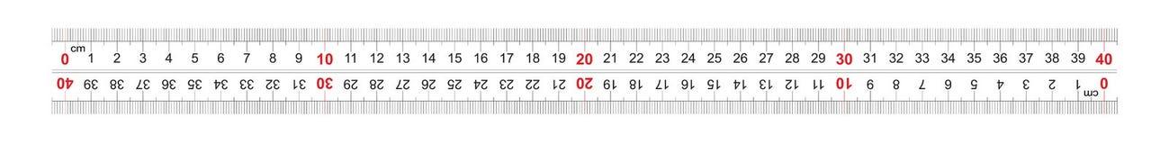 Двойник правителя двухнаправленный встал на сторону 400 миллиметров, 40 сантиметров Цена разделения 1 mm Решетка тарировки иллюстрация вектора