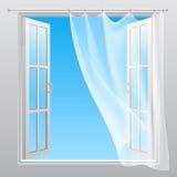 Двойное окно с порхая занавесом иллюстрация вектора