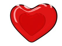 двойное стеклянное сердце 3D Стоковые Изображения RF