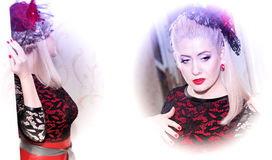 Двойной портрет красивой женщины в красном платье Стоковое Изображение RF