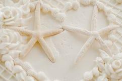 Двойной свадебный пирог морских звёзд Стоковое Фото