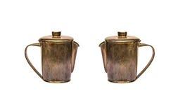 Двойной старый латунный чайник Стоковые Фотографии RF
