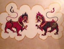 Двойные драконы, двойные львы, чудовище химеры, мифология иллюстрация штока