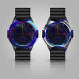 Двойные металлические наручные часы людей Стоковая Фотография
