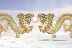 Двойные драконы и шарик огня. Стоковые Изображения
