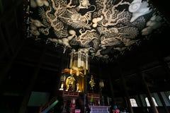 Двойные драконы крася на потолке на виске Kennin-ji Стоковое фото RF