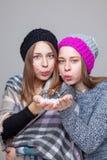 Двойные сестры одетые в теплых одеждах зимы Стоковая Фотография RF