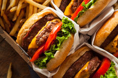 Двойные Cheeseburgers и фраи француза Стоковая Фотография