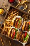 Двойные Cheeseburgers и фраи француза Стоковые Изображения